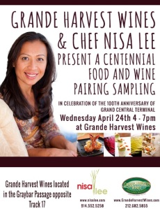 Save the date - April 24th from 4pm-7pm at Grande Harvest Wines in Grand Central!